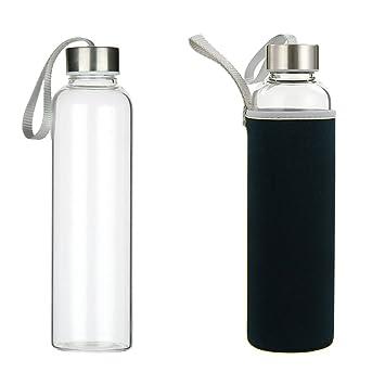 Botella de agua de cristal, 550 ml con tapas de acero inoxidable con bucles de