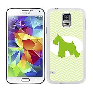Funda carcasa para Samsung Galaxy S5 diseño perro mini shcnauzer silueta estampado zigzag zig-zag borde blanco