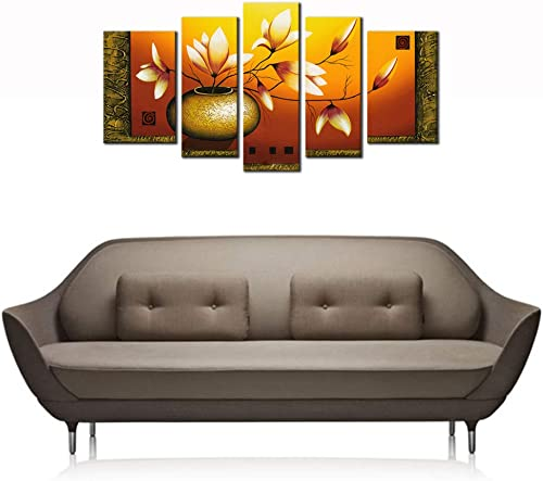 Wieco Art 5-Piece Golden Bottle Elegent Flowers Stretched and Framed Hand-Painted Modern Oil Paintings on Canvas Wall Art Set