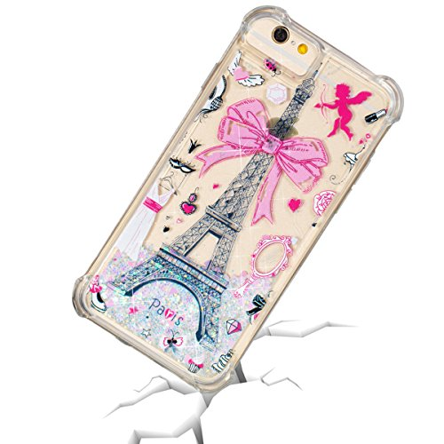 BeeShine Clear Case for iPhone 6S, iPhone 6 Floating [Liquid Quicksand Glitter] [Shock Absorption] Anti-Scratch Protective Case Cover with Air Cushion Technology for Girls Women (Paris Tower)