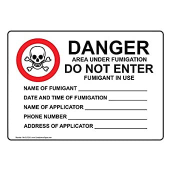 ComplianceSigns Plastic Area Under Fumigation Do Not Enter Sign, 10
