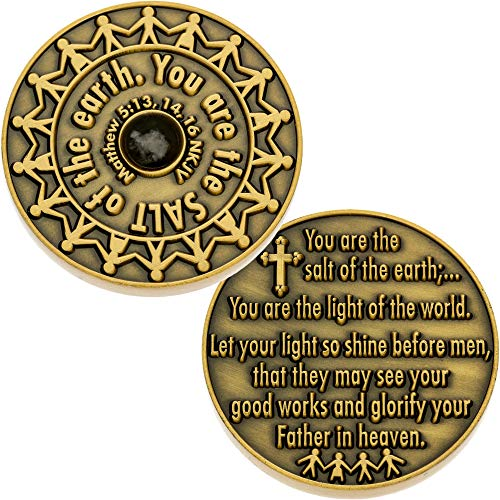 Sterling Gifts Salt of The Earth Coins Pewter Christian Set of 2, Matthew 5:13-16 NIV.