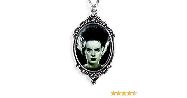 Halloween bride of frankenstein glass cameo necklace