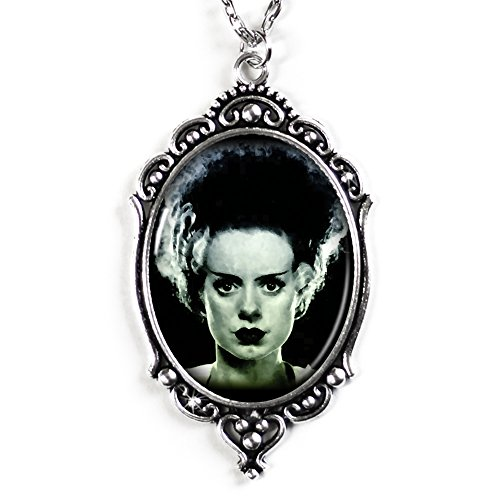 Bride of Frankenstein Cameo Necklace in Silver, Domed Glass Tile