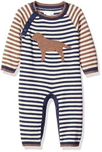 Mud Pie Baby Boys' Puppy Striped One Piece Playwear Sweater Bodysuit, Blue, 9-12 Months