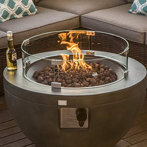 COSIEST Outdoor Propane Half-Sphere Fire Bowl Pit, Greyish-Green Hardrock 30-inch Round Graphite 40,000 BTU Stainless Steel Burner, Wind Guard, Tank Outside, Free Lava Rocks, Waterproof Cover (Garden Stainless Patio Propane Heater Sun Steel Tabletop)