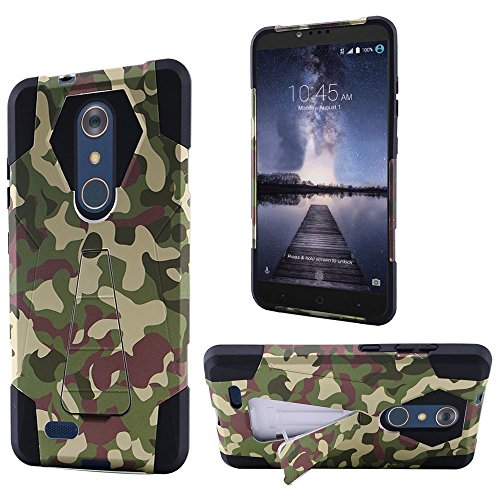 Price comparison product image ZTE Zmax Pro Case,  HRWireless Camouflage Dual Layer [Shock Absorbing] Protection Hybrid Stand PC / Silicone Case Cover For ZTE Zmax Pro,  Green / Black