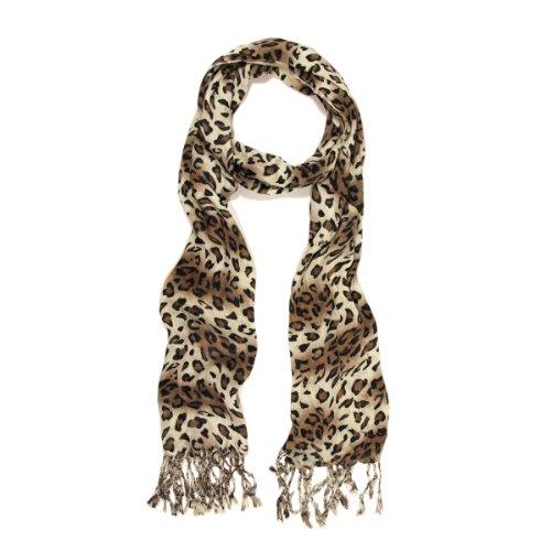 Elegant Leopard Animal Print Scarf with Fringe, Brown