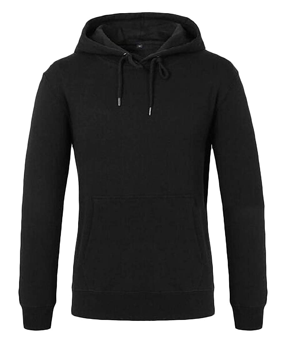 Cromoncent Mens Loose Long Sleeve Hoodies Drawstring Pure Colour Pullover Sweatshirts