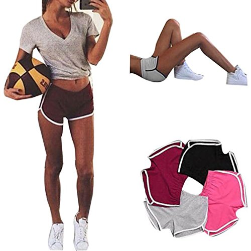 HARRYSTORE Mujer corto pantalones deportivos y elásticos de yoga del verano de cintura alta fitness leggings entrenamiento Rojo