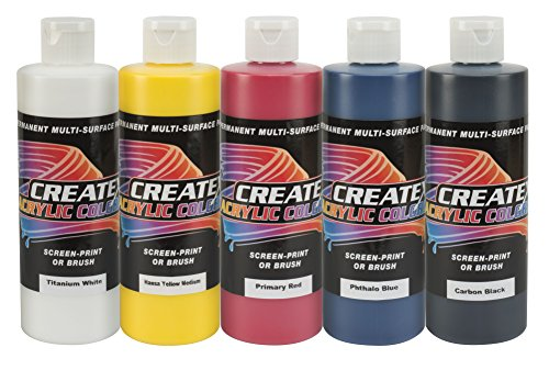 Createx Colors 8oz. Acrylic Primary Set (5 Colors), 8 ()
