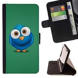 BullDog Case - FOR/Samsung Galaxy A3 / - / Cute Big Eye Blue Bird /- Monedero de cuero de la PU Llevar cubierta de la caja con el ID Credit Card Slots Flip funda de cuer