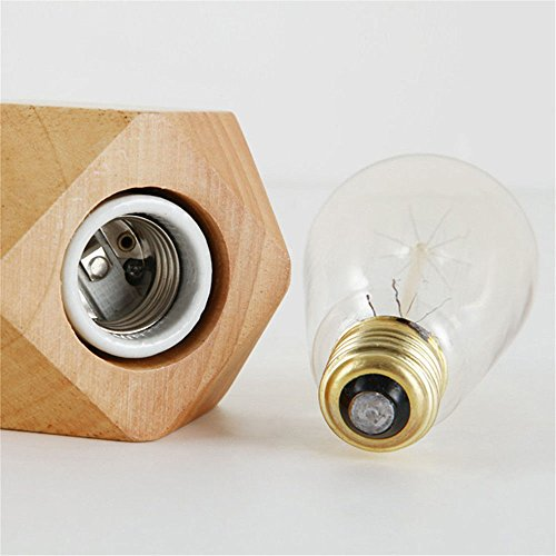Wall Lamps,Creative Diamond Nordic Table lamp Retro Decoration Study Living Room Bedroom Warm Bedside lamp Solid Wood Small Table lamp Bracket Light by ExpensiveLight (Image #3)