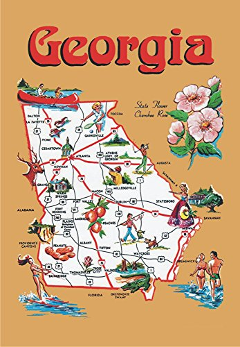 Georgia Map, GA, Atlanta, Savannah, Augusta, Peaches, Souvenir, Locker Magnet 2 x 3 Fridge Magnet