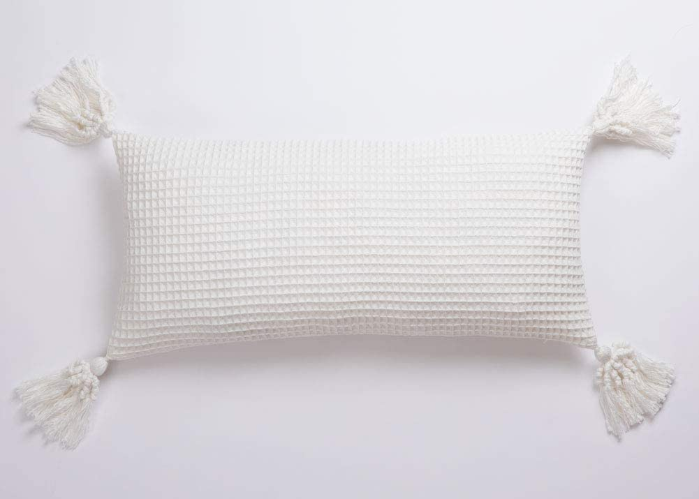Pantaknot Waffle Throw Pillow Covers Decorative Cushion Natural Ivory White Pillowcase Home Décor, 18x18 Inch or 12x24Inch (12x24 Inch)