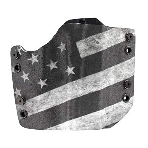 OWB Holster - USA Slanted B&W (Right-Hand, Glock 17,19,22,23,25,26,27,28,31,32,34,35,41 (Gen 3-5) (Best Kydex Owb Holster For Glock 26)