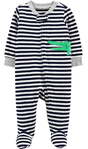 Carter's Baby Boys' Cotton Zip-Up Sleep N Play (3 Months, Gator Heather Terry)