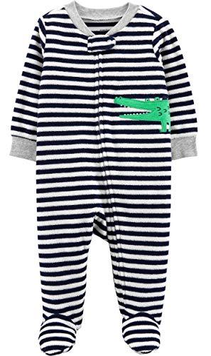 Carter's Baby Boys' Cotton Zip-Up Sleep N Play (6 Months, Gator Heather Terry)