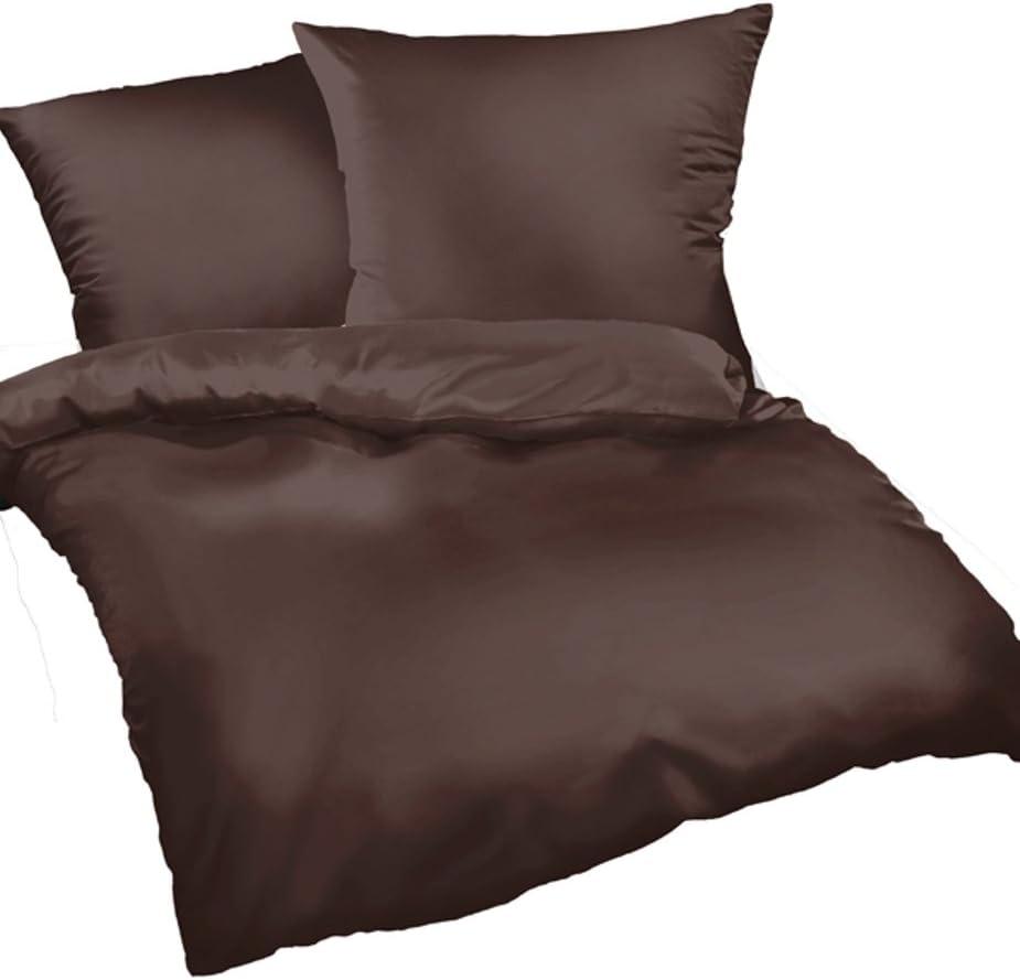 Juego de funda nórdica y funda de almohada de satén de colour marrón Uni grande Nesures de ropa de cama de Mako-satén de algodón 100%, algodón, marrón, 240 x 220 cm: Amazon.es: