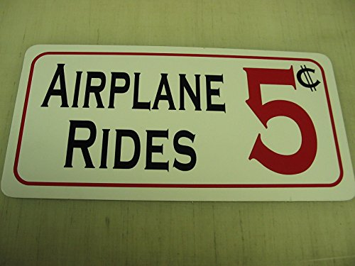 Airplane Rides Vintage Retro Art Deco Style Metal Sign for Airport Air Plane Hangar Hotel Motel Bar or Restaurant Highway Motel HWY Gas Service Station (Air Plane Motels)