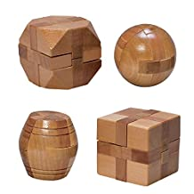 Bits and Pieces - Mini Wood Brain Teaser Set of Four - Classic Designed Light Wood Stain - Wooden Brainteaser Puzzles & Fun Gifts