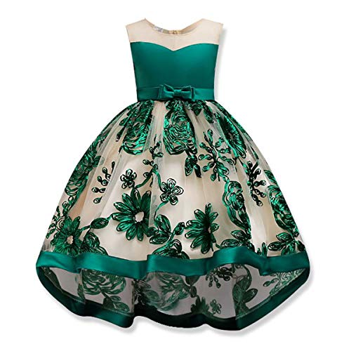 AYOMIS Girls Lace Princess Party Formal Dresses Elegant Pageant Wedding Bridesmaid Prom High-Low Gown (Green - Full,110)