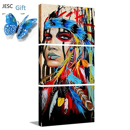 JESC Wall Painting Canvas Painting Native American Girl Feathered Women Modern Indian Girl for Hallway Living Room Bedroom Only Decor Luxury Wall Framed Ready to Hang (12x18inchx3)