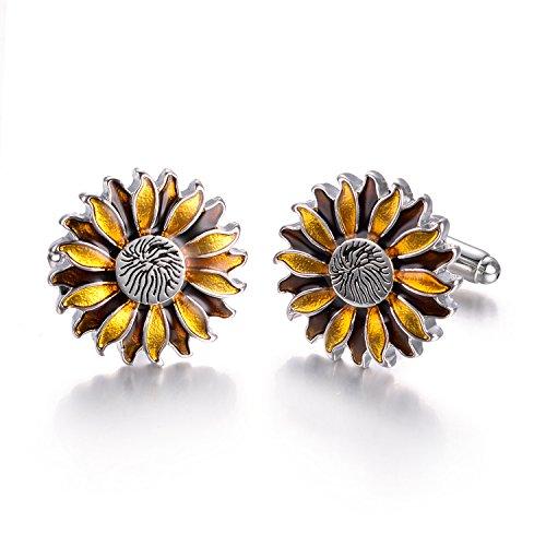 Yoursfs Sunflower Enamel Cufflinks Dark & Light Yellow Bullet Cufflinks Positive Fashion Cufflinks by Yoursfs (Image #1)
