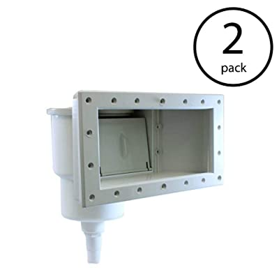 Hydro Tools ABS Wide Mouth Through Wall Above Swimming Pool Skimmer Kit (2 Pack) : Garden & Outdoor