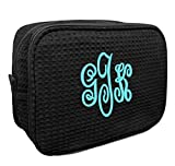 Personalized Waffle Weave Cosmetic Bag (Black)