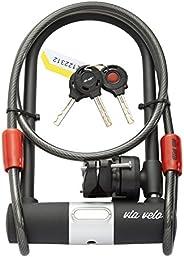 Bike U Lock with Vandalproof Cable – VIA VELO Heavy Duty Bike U Lock Set with 3 Keys and Weatherproof Shock Lo