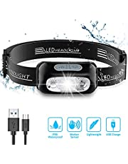 Babacom Head Torch, Rechargeable Super Bright LED Headlamp - 160 Lumens, Motion Sensor, Waterproof IPX6, 4 Lighting Modes, Adjustable Angle & Strap, Led Head Torch for Running Hiking Fishing Hunting