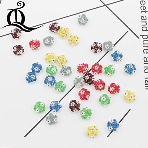 Maslin 50pcs 10mm Mixed Cartoon Flowers Design Resin Flatback Buttons Children Flat Back Scrapbooking Accessories DIY Craft jewelry172 - (Color: Mix)