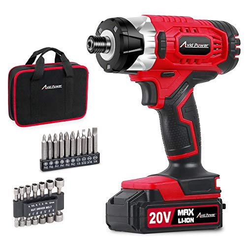 """Impact Driver Kit, 1590 in-lbs 20V MAX Cordless 1/4"""" Hex Impact Drill, Variable Speed, with 14Pcs Sockets, 10Pcs Driver Bits and Tool Bag, Avid Power"""