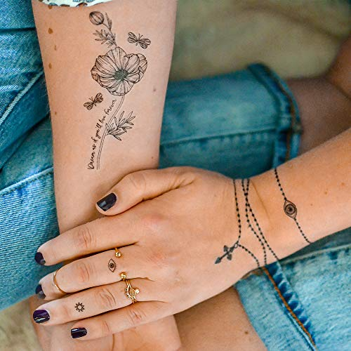 HAILEY Flash Tattoos, metallic temporary jewelry tattoos, 3 sheet mini pack - includes Over 70 mini designs in black -