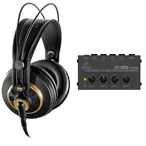 AKG K 240 Studio Professional Semi-Open Stereo Headphones with Behringer HA-400 Headphone Amplifier
