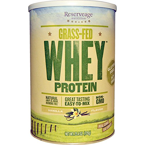 ReserveAge Nutrition, Grass-Fed Whey Protein, Vanilla Flavor, 25.4 oz (720 g), Vitaminder, Power Shaker Bottle, 20 oz Bottle