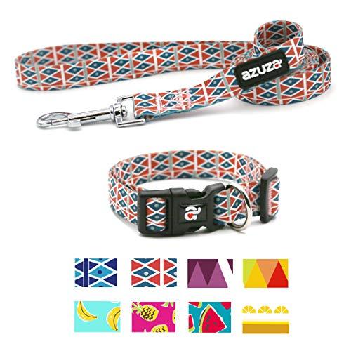 azuza Dog Collar and Leash Set, Adjustable Nylon Collar with Matching Leash,Brick Red Diamond,Medium