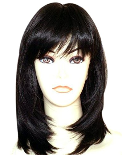 - Qaccf Yaki and Normal Mixed Synthetic Fiber Long Straight Bob Layered Full Bang Black Women Cosplay Wig
