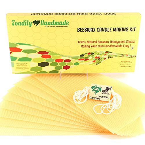 Make Your Own Beeswax Candle Kit - Includes 10 Full Size 100% Beeswax Honeycomb Sheets in BUTTERCUP and Approx. 6 Yards (18 Feet) of Cotton Wick. Each Beeswax Sheet Measures Approx. 8 x 16 1/4.