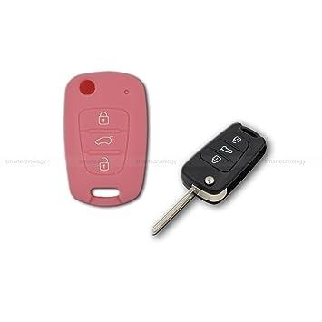 Caparazón carcasa (silicona) para protección concha mando llave 3 3 botones coche hyundai i10 i20 i30, ix20 ix35 Elantra Varios colores Rosa