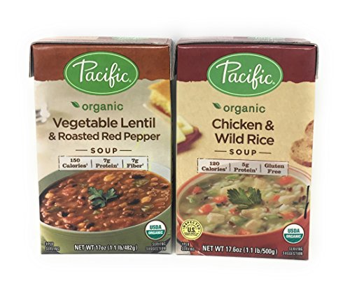 Pacific Foods Organic Soups In 17 Ounce Cartons (3ChickenWildRice/3VegetableRoasted (Homemade Tomato Bisque)