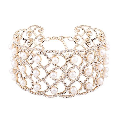 Elegant Lady Stylish Claw Chain Simulated Pearls Inlaid Wide Choker Bib Collar Statement Necklace - Choker Pearl Rhinestone