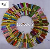 2500 Silk Art 150 Skeins of Multi-color Soft Cotton Cross Stitch Threads ...