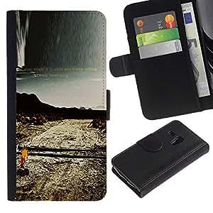 Paccase / Billetera de Cuero Caso del tirón Titular de la tarjeta Carcasa Funda para - Loneliness Alone Road Nature Deserted - Samsung Galaxy S3 MINI NOT REGULAR! I8190 I8190N
