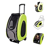 MULTIFUNCTION Pet Carrier + Backpack + CarSeat + Pet Carrier Stroller + Carriers with Wheels for dogs and cats ALL IN ONE (4-in-1 Green)