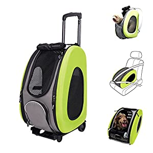 13. Ibiyaya multifunctional Pet Carrier + Backpack + Car Seat + Carriers with Wheels + Pet Stroller