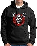Lacrosse Badass Skull and Cross Bones Premium Hoodie Sweatshirt Large Black