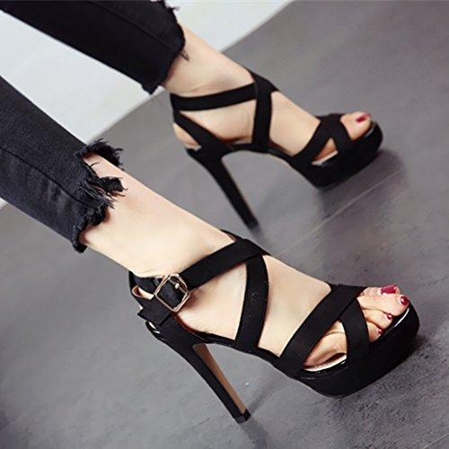 fessura punta tacco YMFIE scarpe alta e sandali col partito 36 europeo moda black scavata estate In tacco alta stile alto UE nero YqTrPY
