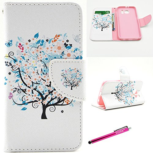 Galaxy S6 Case, Firefish S6 Case [Kickstand] [Leather Wallet] Bumper Lightweight Slim Shock Absorption [Magnetic Closure] for Samsung Galaxy S6 - Tree